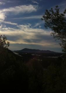 super uitzicht Algar Vallei Middellandse zee vanuit houten chalet op vakantie in Casa del Paso, Bolulla, Algar Watervallen,Kasteel van Guadalest, Altea, Benidorm, Costa Blanca, Spanje